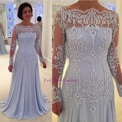 A-line Long-Sleeve Lace Elegant Mother-the-bride Dress_1
