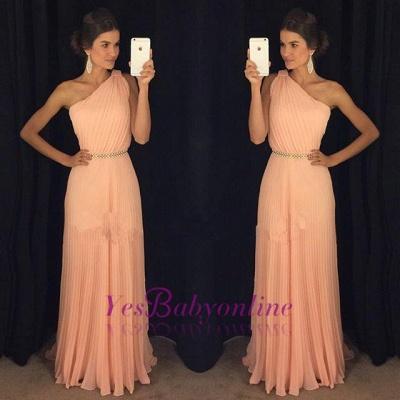 2019 One-Shoulder Prom Dresses Belt Accordion Floor Length A-line Prom Dresses_1