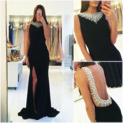 Popular Sexy Beaded Side-Slit Sheath Backless Sleeveless Black Prom Dress_3