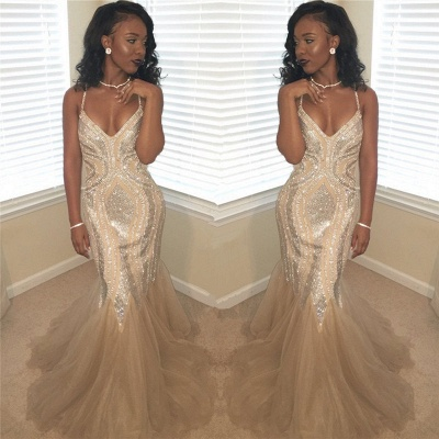 Gorgeous Spaghetti Strap Sequined Mermaid Prom Dresses | V Neck Cheap Evening Dresses_3