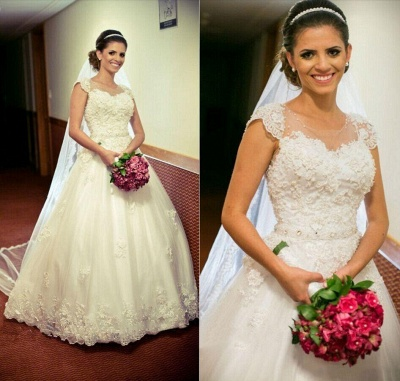 Lace Ball Appliques Princess Gown Tulle Crystal-Belt Jewel Cap-Sleeve Wedding Dress_3