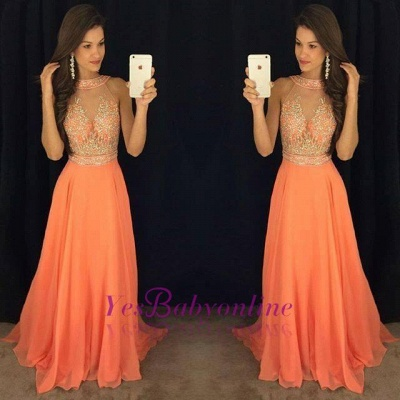Gorgeous Beads A-line Sweep-Train Sleeveless Prom Dress_1
