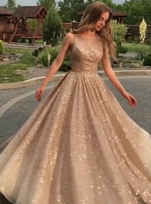 Open Back Champagne Gold Sequins Sleeveless Sexy Cheap Prom Dresses_3