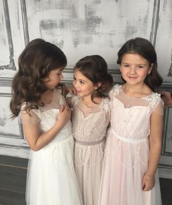 Appliques A-Line Glamorous Beadings Open-Back  Flower-Girl Dresses_4