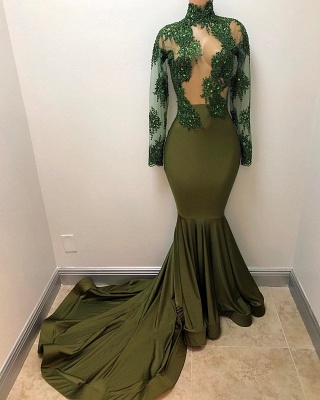 Gorgeous Long Illusion Mermaid High-Neck Long-Sleeves Prom Dresses_3