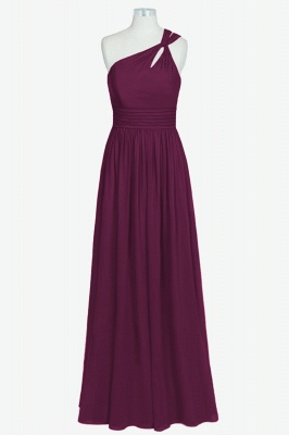 A Line Chiffon One Shoulder Floor Length Bridesmaid Dresses_1