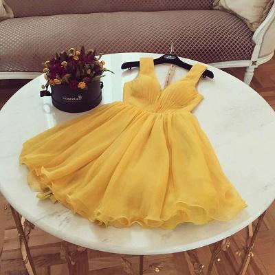 A-Line  Homecoming Dresses | V-Neck Straps Ruffles Short Cocktail Dresses_2