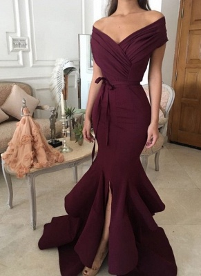 Sexy Burgundy Mermaid Prom Dresses Off-the-Shoulder Side Slit Evening Dresses_1