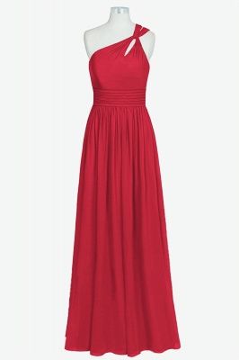 A Line Chiffon One Shoulder Floor Length Bridesmaid Dresses_5