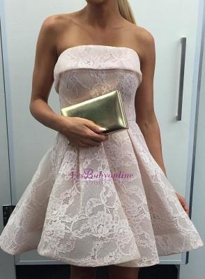 A-Line Short Pink Elegant Dresses Lace Cocktail Party Dress_1