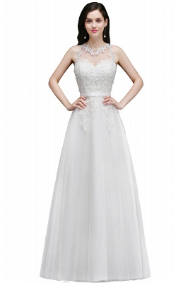 AMARI | A-Line Jewel Floor Length Tulle Wedding Dresses with Lace_2