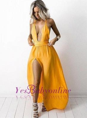 V Neck Deep Neck Yellow Side-Slit Sexy Halter Party Dresses_1