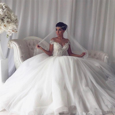 Modest Puffy Lace Wedding Dress | Ivory Off-the-shoulder Bridal Dress_4