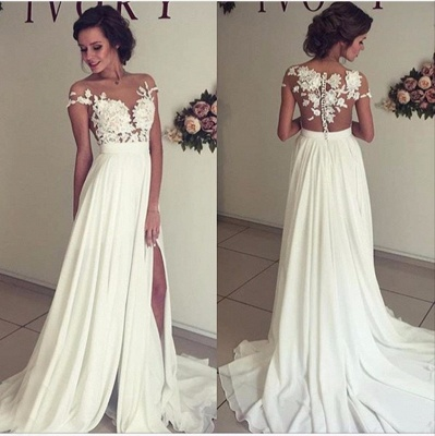Glamorous Lace Appliques Side Slit A-line Chiffon Beach Wedding Dresses_5