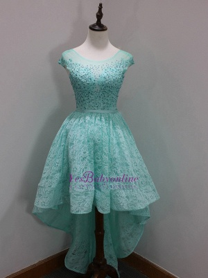 A-Line High-Low Scoop Newest Sequins Homecoming Lace Sleeves Cap Dresses Prom Dresses_1