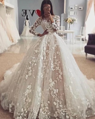 Luxury Jewel Long Sleeve Flowers Ball Gown Wedding Dresses | Princess Bridal Gown_2