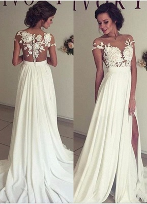Glamorous Lace Appliques Side Slit A-line Chiffon Beach Wedding Dresses_1