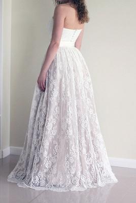 Sweetheart Cheap Sash Sleeveless Simple Long Lace A-line Wedding Dress_3
