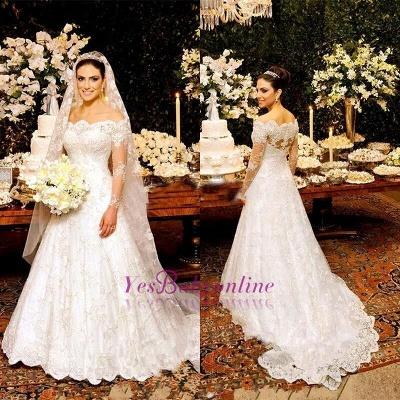 Lace Zipper Button Long Sleeves Glamorous Wedding Dress_1