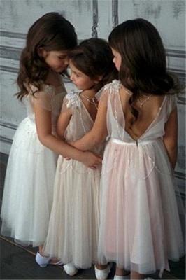 Appliques A-Line Glamorous Beadings Open-Back  Flower-Girl Dresses_3
