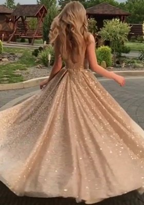 Open Back Champagne Gold Sequins Sleeveless Sexy Cheap Prom Dresses_5