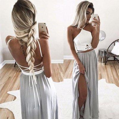 Long Halter-Neck Summer Spaghettis Straps Side-Slit Open-Back Prom Dresses_3