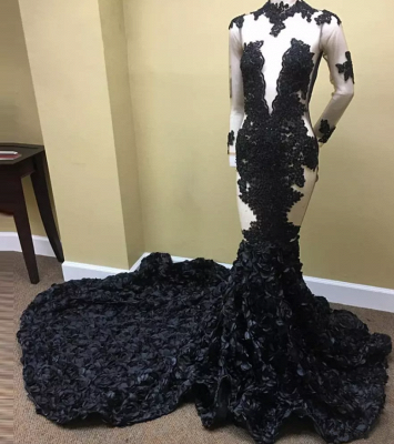 Long Sleeves Sheer Prom Dresses   Lace Appliques Black Evening Gowns_3