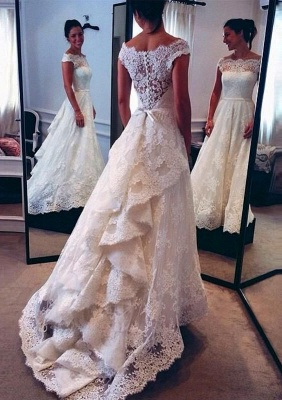 Classic Capped Sleeves Lace A-line Wedding Dress with Tiers Train_1