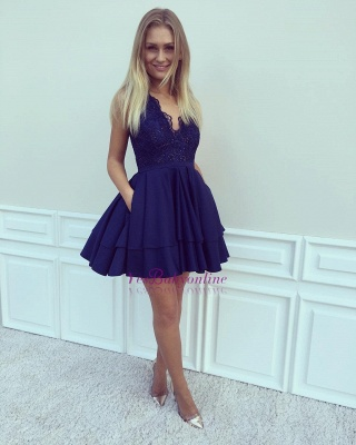 2019 Blue Homecoming Dresses V-Neck Sleeveless Layers Skirt with Pockets Cocktail Dress_1
