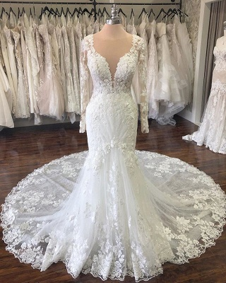 See Through Jewel Neck Long Sleeve Applique Mermaid Wedding Dress | Lace Bridal Gown_2