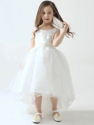 Hi-Lo Lace Tulle Tea-Length Flower Girl Dress with Appliques