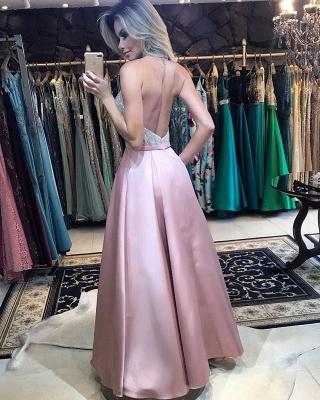 Elegant A-Line Pink Prom Dresses | Halter Beading Backless Evening Dresses_4