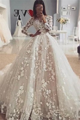 Luxury Jewel Long Sleeve Flowers Ball Gown Wedding Dresses | Princess Bridal Gown