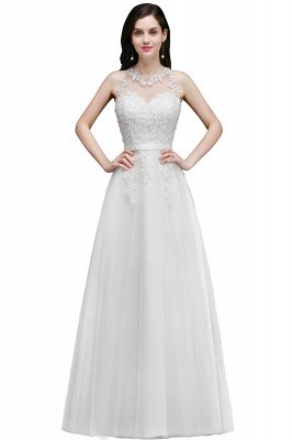 AMARI   A-Line Jewel Floor Length Tulle Wedding Dresses with Lace_1
