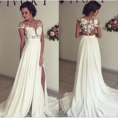 Glamorous Lace Appliques Side Slit A-line Chiffon Beach Wedding Dresses_5