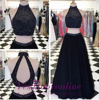 Two-Piece High-Neck Long Black Beaded A-line Prom Dresses_1