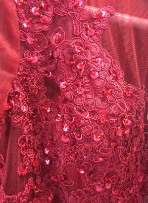2019 Burgundy Mermaid Prom Dresses Off-the-Shoulder Lace Beaded Evening Gowns_4