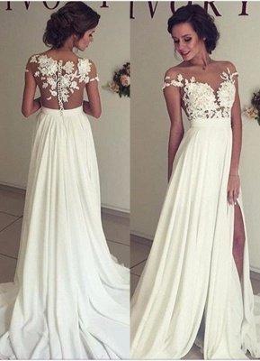 Glamorous Lace Appliques Side Slit A-line Chiffon Beach Wedding Dresses_1