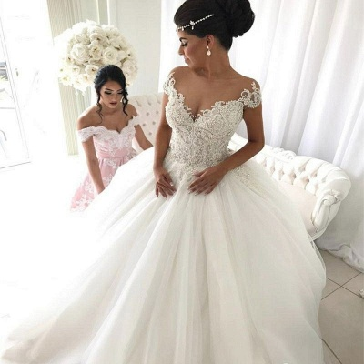 Modest Puffy Lace Wedding Dress | Ivory Off-the-shoulder Bridal Dress_3