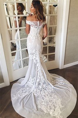 Lace Appliques Sexy Mermaid Buttons Wedding Dress | Off The Shoulder Tulle Bridal Dress_4