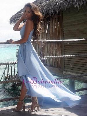 Summer V-Neck Elegant Sleeveless Hi-Lo Prom Dress_1