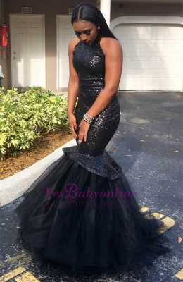 Black Sexy Sleeveless Sequins Mermaid High-Neck Yulle Gorgeous Prom Dress_1
