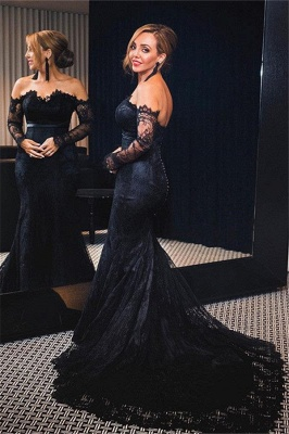 Elegant Lace Mermaid Prom Dresses Off-the-Shoulder Mermaid Formal Dresses_1