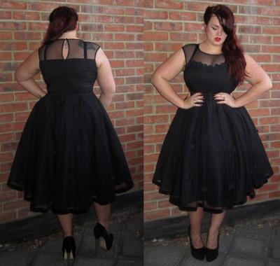 Black Cap-Sleeve Jewel Newest Plus-Size Tea-Length Prom Dress_4