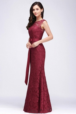 Lace Sleeveless Mermaid Bowknot-Sash Floor-Length Burgundy Prom Dresses_4