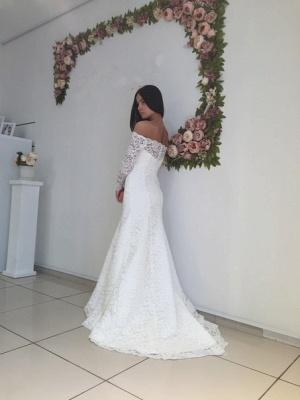 Mermaid Off-the-shoulder Stylish Lace Sweep Train Long Sleeves Wedding Dress_3