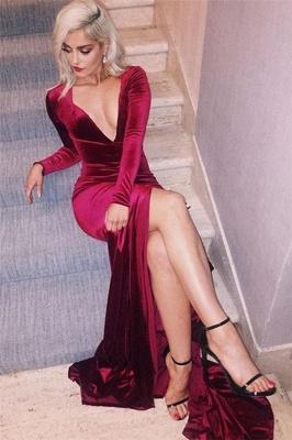 Deep-V-Neck Long-Sleeves Side-Slit Velvet Sexy Prom Dress_1