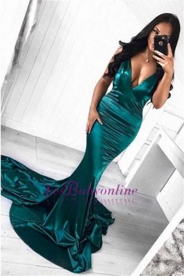 Sweep Sleeveless Mermaid Sexy Deep Train V-Neck Green Evening Dress_1