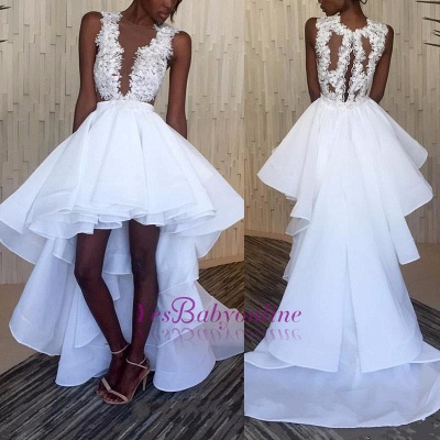 Hi-Lo White Lace Ruffles Sleeveless Appliques Wedding Dress_1