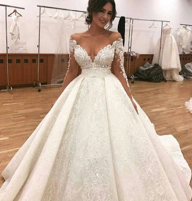 Glamorous Long Sleevess Wedding Dresses | Lace Ball Gown Bridal Gowns_3